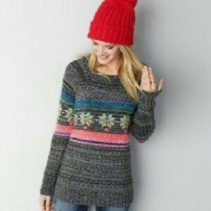 AEO grey snowflake knit sweater S small acrylic